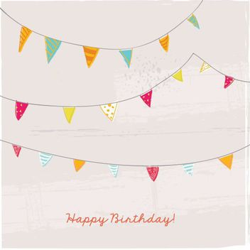 Hand Drawn Birthday Bunting Card - Free vector #162989