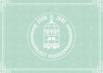 Just Married Decorative Vintage Card - Free vector #163029