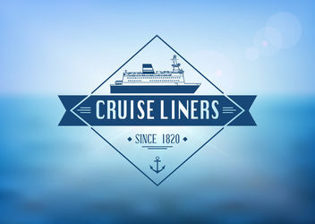 Cruise Liner Label Ocean Background - бесплатный vector #163079