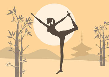 Woman Practices Yoga Zen Garden - Free vector #163099
