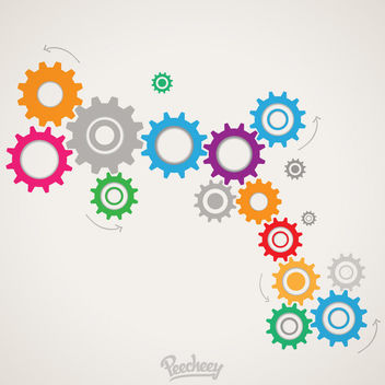 Colorful Cogwheels Mechanism Background - Free vector #163189