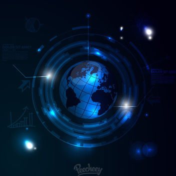 Blue Glossy Earth Tech Background - vector gratuit #163299