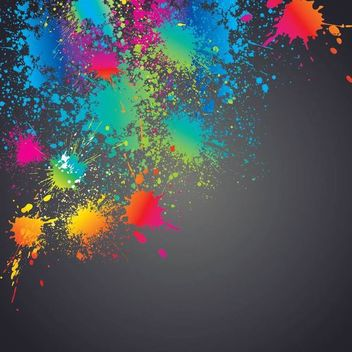 Colorful Splashed Paint Splatter Background - vector gratuit #163479