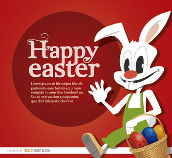 Easter cartoon rabbit eggs basket - vector #163489 gratis