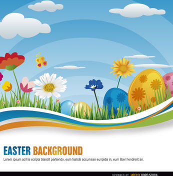Flowers Easter eggs wavy - Free vector #163539