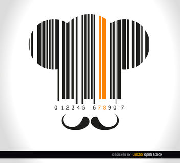 Chef hat moustache codebar - vector #163549 gratis