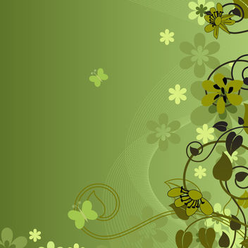 Abstract Floral Swirls Green Background - Free vector #163559