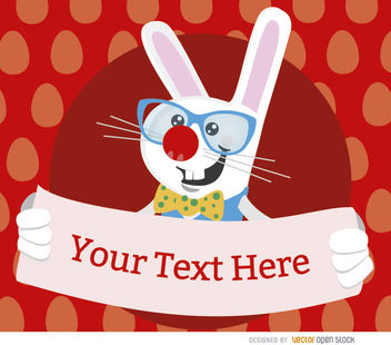 Easter Nerdy rabbit placard - Free vector #163599