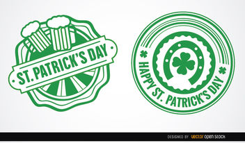 Two St. Patrick's round badges - vector gratuit #163619