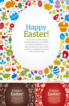 3 Happy Easter egg elements backgrounds - Kostenloses vector #163659