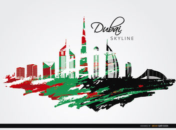 Dubai skyline with flag colors - vector gratuit #163689