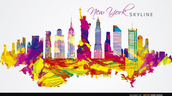 New York City colorful painted - Free vector #163739