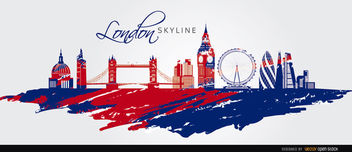 London skyline painted flag - vector gratuit #163749