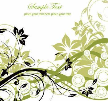Swirling Floral Background with Circles - Free vector #163789