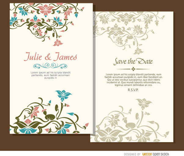 2 beautiful floral wedding invitations - vector gratuit #163799