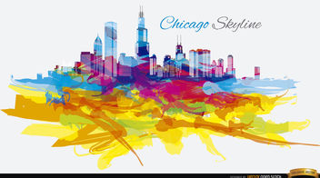 Psychedelyc colorful Chicago skyline - бесплатный vector #163819