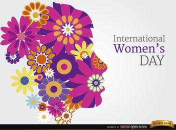 Women's day flowers head background - бесплатный vector #163879