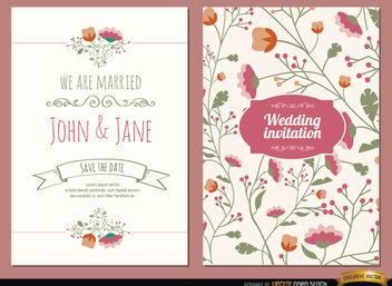 2 Wedding invitations with flowers - vector gratuit #163939