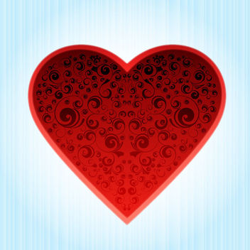 Fancy Decorative Heart on Blue Background - vector gratuit #163949