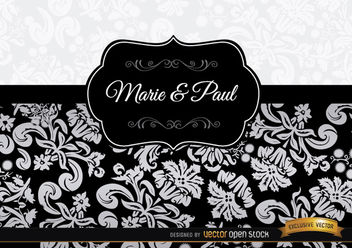 Black floral elegant invitation - бесплатный vector #164009
