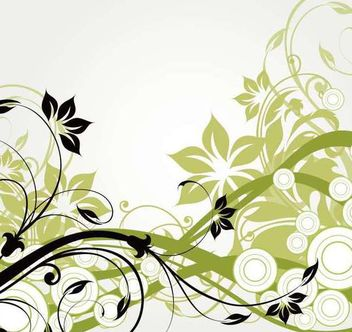Swirling Long Simplistic Abstract Floral Branches - vector gratuit #164019