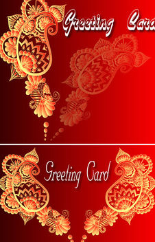 Decorated Vintage Ornamental Greeting Card - vector gratuit #164049