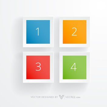 4 Multicolored Squares Infographic - vector gratuit #164089