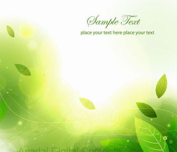 Creative Shiny Green Leaves Abstract Background - Free vector #164119