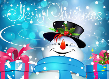 Xmas Snowman with Gift Boxes on Bokeh Background - Free vector #164189
