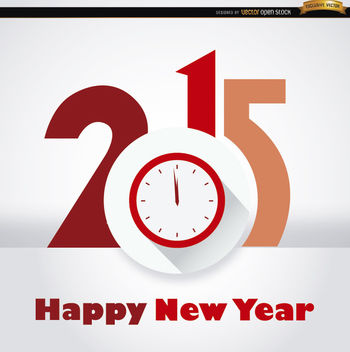 2015 clock New Year background - Free vector #164259