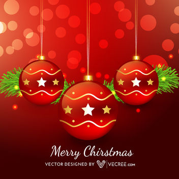 Red Xmas Balls on Bokeh Light Background - Free vector #164279
