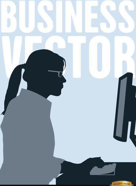 Executive woman working computer - Free vector #164289