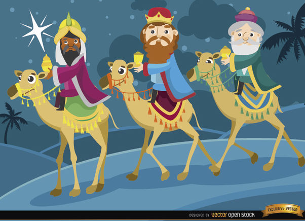 Three wise men journey camels - Free vector #164299