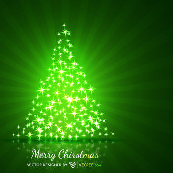 Xmas Tree Shaped Sparkling Stars Green Background - Free vector #164329