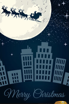 Santa Claus sleigh flying over city - Kostenloses vector #164369