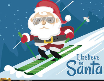 Santa Claus Ski Christmas Background - Free vector #164389