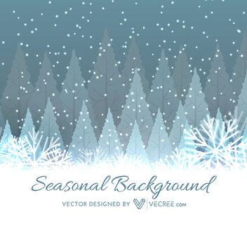 Snowy Abstract Xmas Tree & Snowflakes Background - Free vector #164419