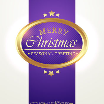 Purple Xmas Card with Golden Badge - vector gratuit #164449