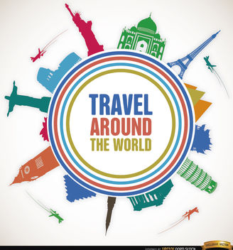 Travel world landmarks promo - бесплатный vector #164459