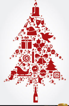 Tree shaped Christmas elements - vector gratuit #164469