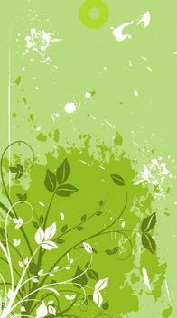 Green Floristic Banner with Grungy Stains - vector gratuit #164479
