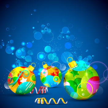 Decorative Baubles on Blue Abstract Background - Free vector #164499