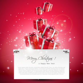 Flowing 3D Xmas Gift Boxes on Red Background - vector #164569 gratis