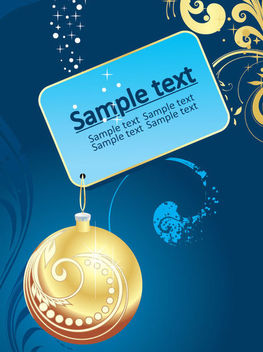 Christmas Tag with Bauble on Blue Background - vector gratuit #164579
