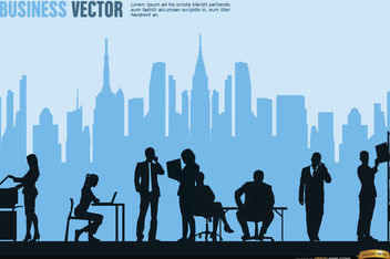 Executives working city skyline background - vector gratuit #164609
