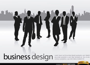 Business team city skyline - vector gratuit #164619