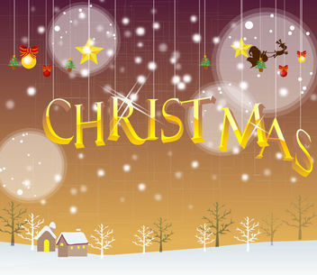 Hanging Christmas Typography Snowy Background - vector gratuit #164639