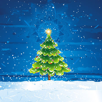 Decorative Christmas Tree on Frosty Landscape - vector gratuit #164669