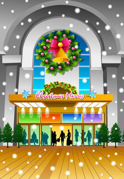 Christmas Eve Front Door Shopping Mall Decoration - vector #164689 gratis