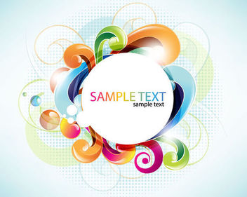 White Circular Banner with Colorful Swirls - vector gratuit #164699